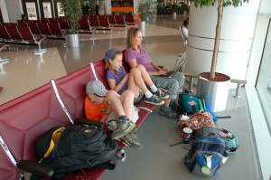 Charging up at Doha, Qatar airport.