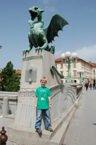A.J. at the Dragon Bridge, one of several downtown river crossings