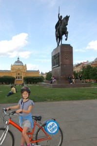 On bikes in Zagreb. Croatia