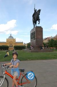 On bikes in Zagreb. Croatia