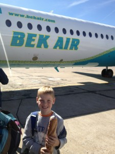 Boarding a flight in Uralsk, Kazakhstan