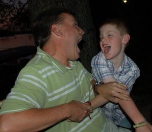 A.J. goofing with his dad!